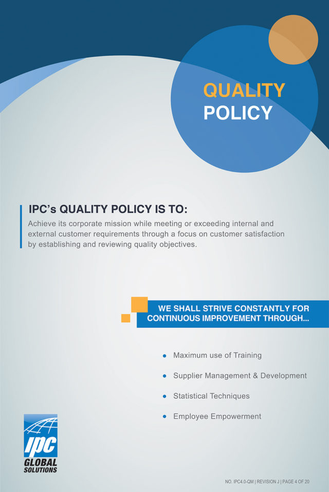 ipc global solutions quality policy poster